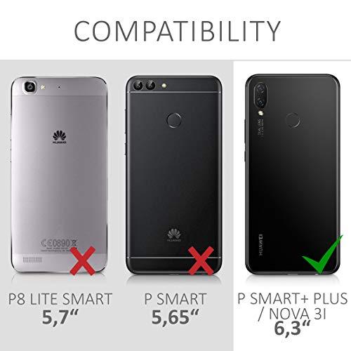 kwmobile Huawei P Smart+ (2018) / Nova 3i Hülle - Handyhülle für Huawei P Smart+ (2018) / Nova 3i - Handy Case in Travel Umriss Design Schwarz Transparent - 6