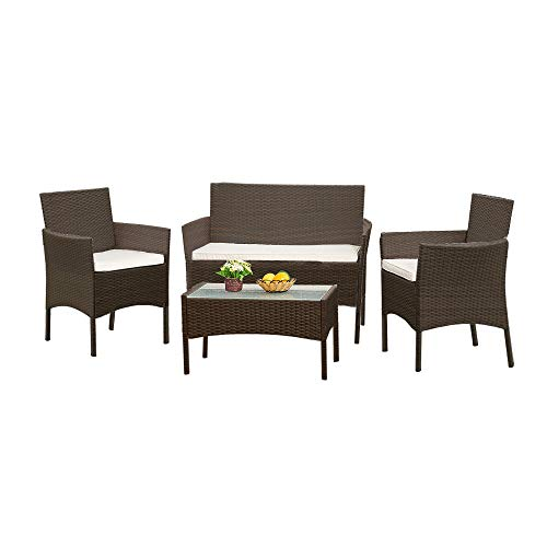 Panana Rattan Garden Furniture 4 Piece Set Table Sofa Chair Patio Outdoor Conservatory Indoor Brown