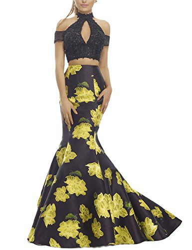 DarlingU Women's Formal High Neck Mermaid Lace Prom Evening Party Dresses Two Pieces Short Sleeves Floral Print Gowns Formal Yellow Black 26W