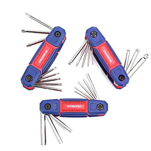WORKPRO Innensechskantschlüssel Set, 24-tlg. Falten Pocketschlüsselsatz Inbusschlüssel mit Kugel und Torx (9 bis 40), Ideal für Fahrrad und Heimwerk