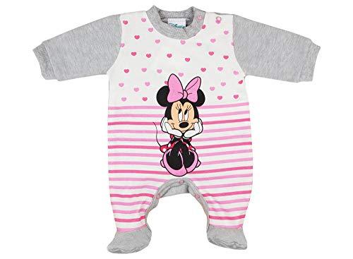 Disney Mädchen Baby-Strampler Schlafoverall Langarm mit Fuß Minnie Mouse GRÖSSE 50 56 62 68 Baby-Schlafanzug, Früh- Neu-Geborene, 0 3 6 9 Monate Farbe Grau, Größe 56
