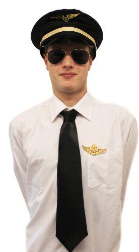 0207VPAN9TC Pilot Set DE DÉGUISEMENT Chapeau Noir-Badge TIE Aviator Verres Captain Compagnie AÉRIENNE