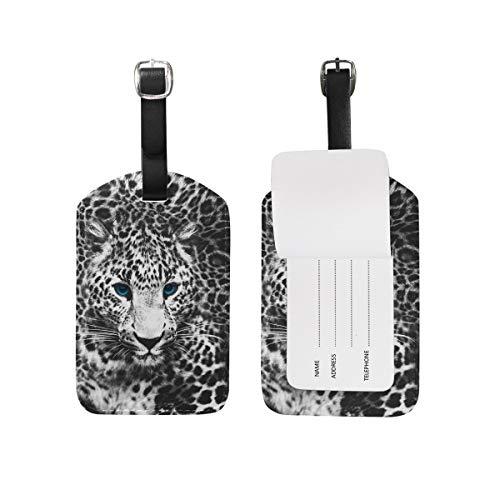 Etiquetas de equipaje de animales con estampado de leopardo para maleta de 1 pieza