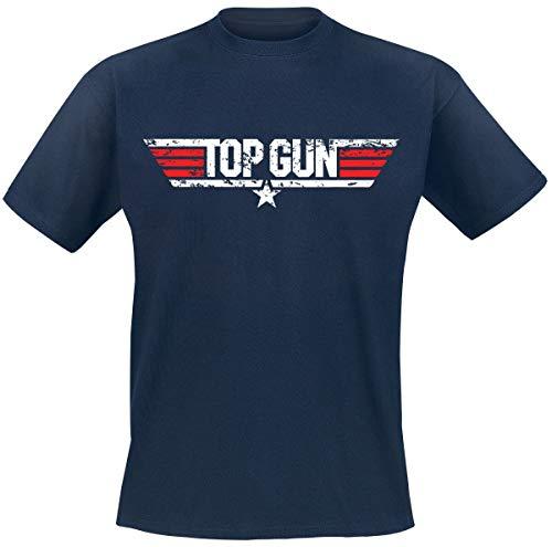 Top Gun Distressed Logo Hombre Camiseta Azul Marino L, 100% algodón, Regular