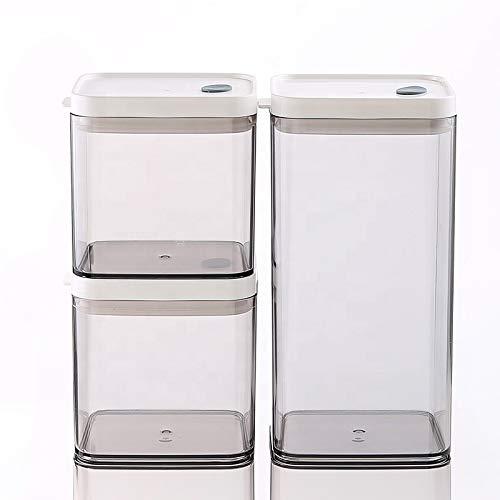 Frischhaltedosen-Set, luftverschließbar, BPA-frei, auslaufsicherer Deckel, 2 x 700 ml und 1 x 1500 ml platzsparende Kunststoffdosen für Mehl, Müsli, Nudeln, Koksi, 3 Stück