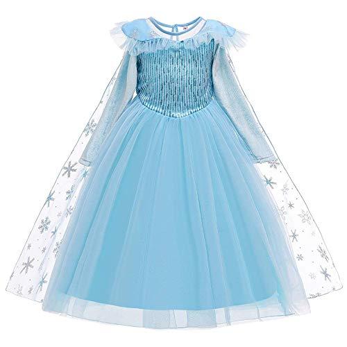 Disfraz de princesa para nia, disfraz de cuento de hadas, capa larga de copo de nieve, 2 piezas, para carnaval, Navidad, Halloween, fiesta de cumpleaos, fiesta de graduacin, para 18 m - 8 aos