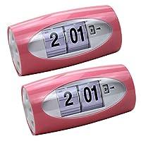 Baoblaze 2ピース/個デジタルテーブルクロックオートフリップクロック目覚まし時計