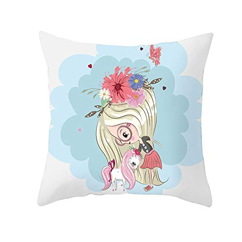 Yinzhm Fundas de Cojines Unicornio Niña Terciopelo Suave Cuadrado Decorativa Almohadas Funda de Almohada para Cojín para Sofá Camas Dormitorio Coche Sillas Throw Pillow Case V5460 Pillowcase,50X50cm