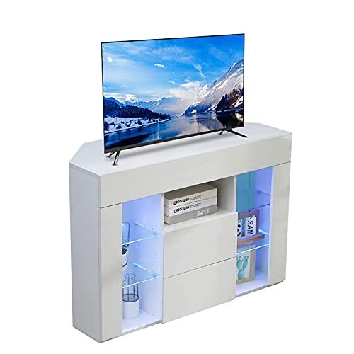 Dripex TV Lowboard Eckschrank Board Fernsehtisch Eckkommode mit LED Beleuchtung Weiß Hochglanz mit Klappe 100x68x40 cm