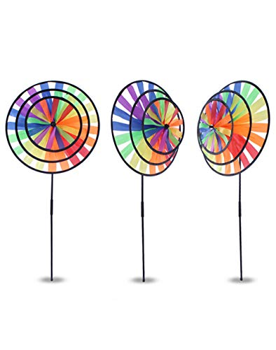 BrilliantDay 3 Pcs Fleur coloré à vent Moulin à vent Maison Décor de jardin Musique de roue Home Yard Décoration Hot