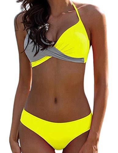 JFAN Donna Costume da Bagno Push Up Imbottito Reggiseno Bikini Donna Due Pezzi Swimwear Abiti da Spiaggia (Giallo, M)