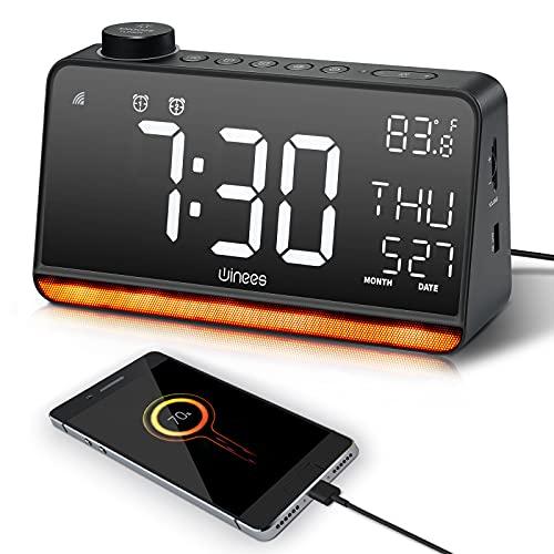 Radio Reloj Despertador Digital, MáQuina de Ruido Blanco Compatible con Alexa y Google, Pantalla Led de 9 'Con DíGitos, Alarma Dual, Radio Fm, FuncióN de RepeticióN, Luz Nocturna para Dormitorios