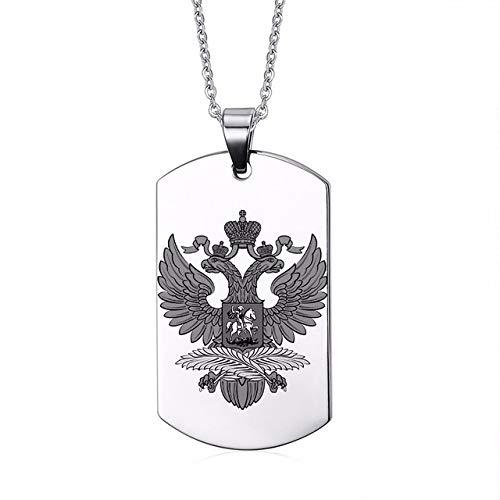 Inveroo Símbolos Rusos Iconos Nacionales 316L Acero Inoxidable Perro Etiqueta para Los Hombres Personalizar Clásico Colgante Águila Collares