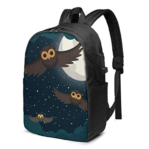 Travel Laptop Backpack, Black Sky, Moon, Cloud, Owl Travel Laptop Backpack College School Bag Casual Daypack with USB Charging Port
