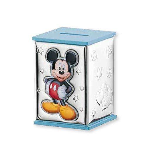 VALENTI & CO. Disney Baby - Salvadanaio Topolino Mickey Mouse con Lamina Colorata in Argento per Bambini
