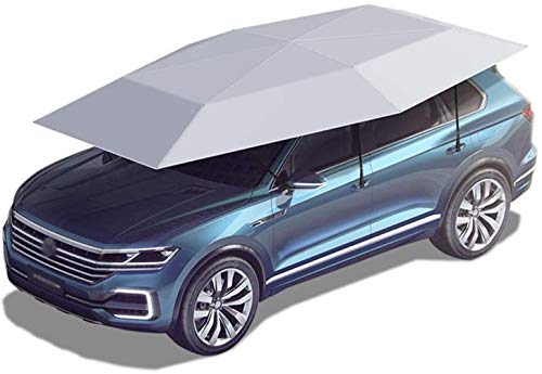 GMZTT Car Sunshades car tent Semi-Automatic, Water-Proof, Portable Car Umbrella Tent Cover Sun Shade Anti-UV, Movable Carport Folded Auto Cars Protection Canopy with Snow Wind Proof