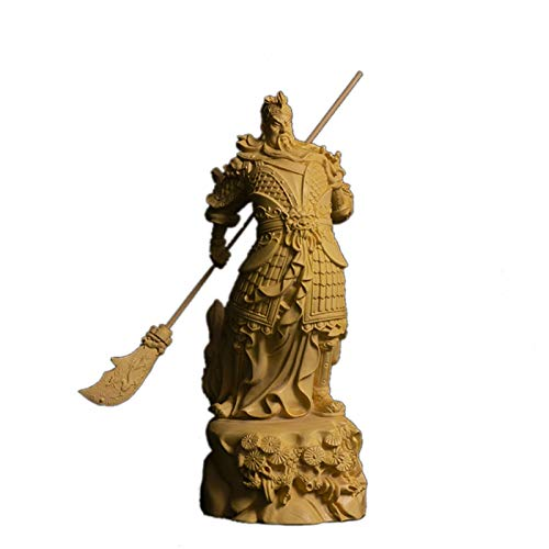 XIANGE100-SHOP Estatua 16cm Guan Yu Sculpture Sculpture Feng Shui Real Wood Guan Gong Estatua Tres Reinos Figura Decoración del hogar Regalos Chinos