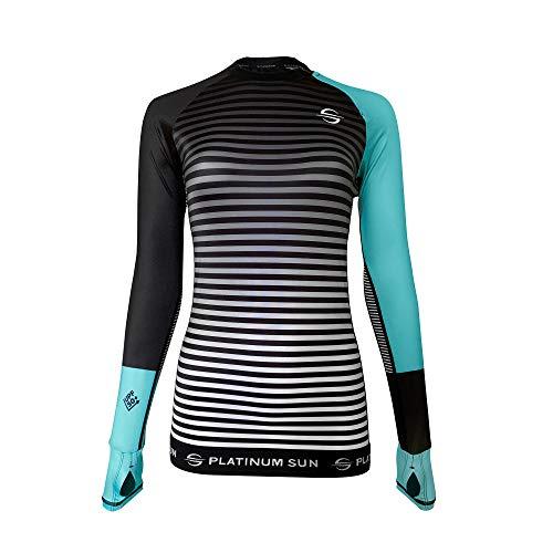 Women's Rash Guard Swim Shirt Long Sleeve Swimsuit Top Bathing Swimming Shirts - Sun Protection Clothing UPF 50 (Turquoise-Stripes, L)