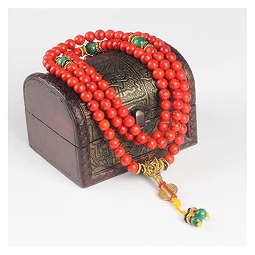 MLKJSYBA Pulsera Pulsera de Coral Rojo Perlas de Piedra Natural Collar Mala Collar Budista Oración Rosario Strand Pulseras Buddha Pulseras de Mujer