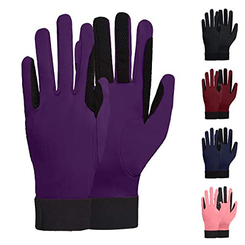 ChinFunWomen's Horse Riding Gloves Stretchable Equestrian Gloves Breathable for Outdoor Horseback Cycling Driving Purple M