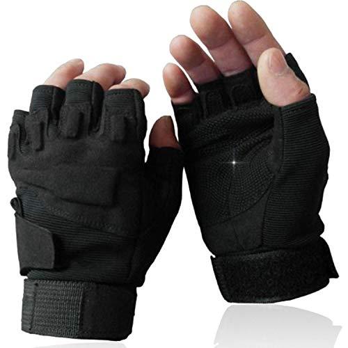 OMGAI Männer Halb Finger Handschuhe Von Hard Knuckle für Airsoft Armee Schießsport Paintball Motorrad Outdoor Sportarten Schwarz
