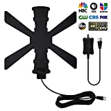 2020 Newest- Indoor Digital HDTV Antenna 120+ Miles Long Range with Amplifier Signal Booster Support 4K 1080P UHF VHF Freeview HDTV Channels with 13.3FT Coax Cable