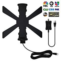 [UPGRADED TO 120 +MILE RANGE]: This indoor HDTV antenna included detachable Amplifier to picks up signals within maximal 120+ miles range. You can watch your favorite football game and don't need to worry about the thunder weather cause the updated v...