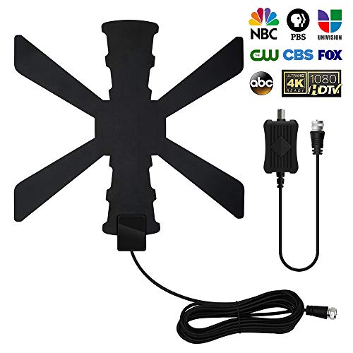 TV Antenna, 2020 Newest Indoor Digital TV Antenna 120+ Miles Long Range with Amplifier Signal Booster Support 4K 1080P UHF VHF Freeview HDTV Channels with 13.3FTCoax Cable