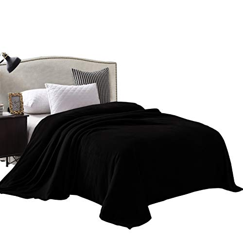 Exclusivo Mezcla Velvet Flannel Fleece Plush Queen Size Bed Blanket as Bedspread/Coverlet/Bed Cover (90' x 90', Black) - Soft, Lightweight, Warm and Cozy
