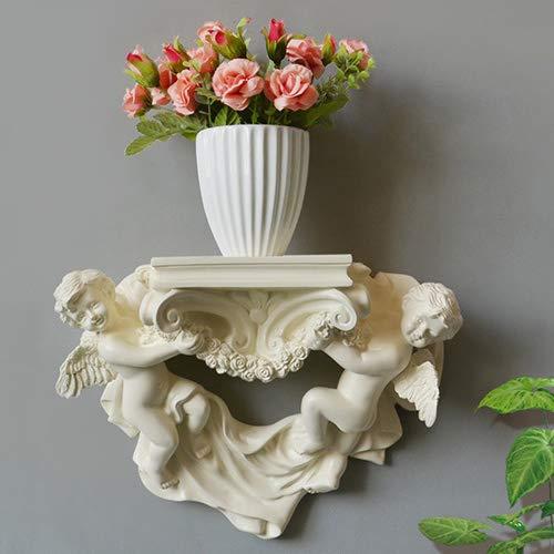 YXYOL Creative-Engel Wandbehang Skulpturen, Stand Wandregal Blumen für Wohnzimmer Restaurant, Kind Amor Cherub Gartenfiguren, Garten Yard-Garten-Dekoration