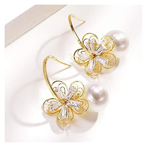 LDH Flower Earrings Imitation Pearl Earrings Temperament Hollow Flower Earrings for Girls, Atmospheric All-match Earrings, Gifts for Women Gold 925 Silver
