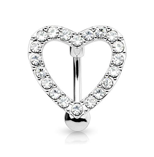 Forbidden Body Jewelry Belly Button Rings Pave CZ Crystal Heart Reverse Hinged Top Down Belly Rings Surgical Steel 14G