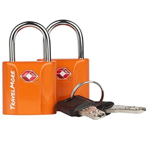 2 Pack TSA Approved Luggage Key Locks for Travel – Lock with Keys - Orange