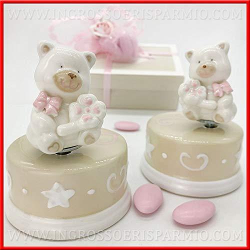 Ingrosso e Risparmio Schön und schont Spieluhr aus Porzellan Farbe Creme mit Teddybär Rosa und Kleeblatt Originalen Taufe Mädchen, komplett mit Geschenkbox