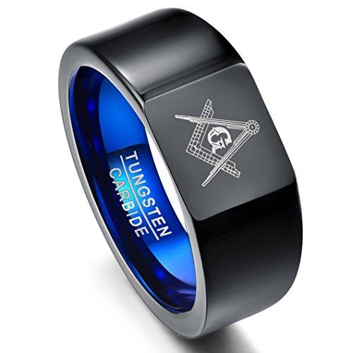 NUNCAD Ring Herren Wolfram mit Freimaurer Gravur, Unisex Ring schwarz+blau mit Winkel und Zirkel, für Freundschaft, Lifestyle, Größe 62 (22)