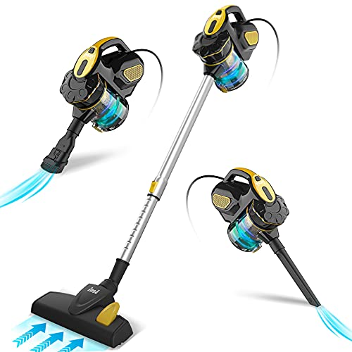 INSE Aspirador con Cable, 3 En 1 Vertical y de Mano, Hogar Escopa Aspiradora, Poderosa Succión 18Kpa, 600W, 1L, Hepa Filtro Lavable, 3 Cepillos Ajustable (Azul Marino)