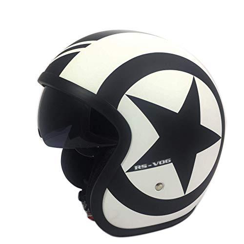 Motorrad JETHELME Viper V06 Motorradhelm Open Face Rollerhelm offener Helm Touren Vintage Jet Helm mit Sonnenblende, ECE Zertifiziert, (Matt White Star,S)