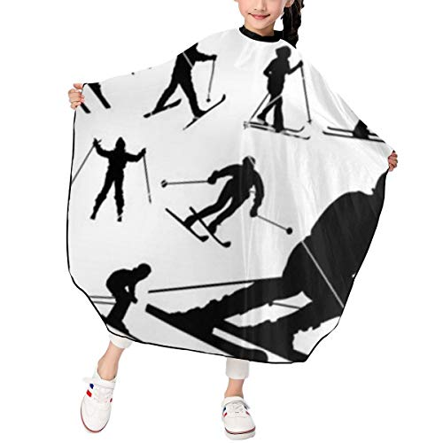 Kids Haircut Apron,Skiing Barber Cape Cover for Hair Cutting,Styling and Shampoo, for Boys and Girls