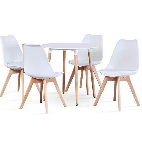 ArtDesign FR Sillas de Comedor, Juego de 4, Asiento Acolchado Suave, Patas de Madera Maciza de Haya Natural, Respaldo ergonómico (4 sillas Blancas + Mesa)