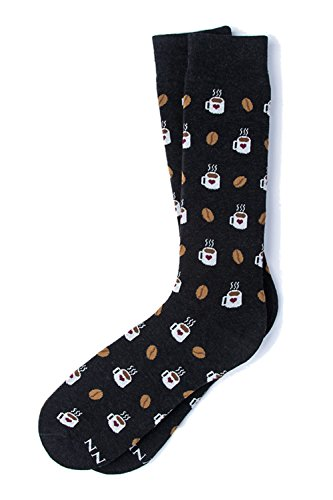 Men's Hipster Designer But First, Coffee & Beans Novelty Crew Dress Socks (Black)