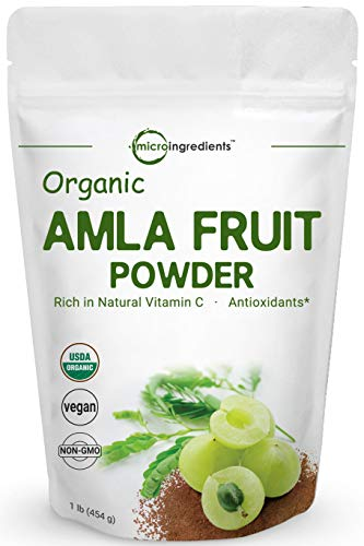 Organic Amla Powder (Amalaki),1 Pound (16 Ounce), Rich in Natural Vitamin C, Antioxidant and Flavonoids, Supports Immune System and Fat Burn, Premium Amla Powder Organic, Non-GMO and Vegan Friendly