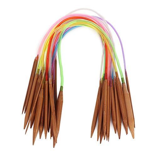 Juego de agujas de tejer de bambú de 18 piezas Color aguja de tejer circular de bambú de doble punta carbonizada para proceso de tejer(40 cm/15.7 in)