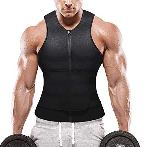 Yokald Faja Reductora Adelgazante Hombre Neopreno Camiseta Reductora Compresión de Sauna Chaleco para Desarrollo Muscular Pérdida de Peso con Quema Grasa Deportivo (NegroBelt, L) ⭐