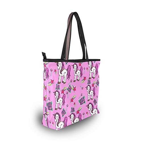 Ahomy Magic Unicornios Rosa Lollipop Meteor Bolsa de hombro grande y ligera para gimnasio, senderismo, picnic, viajes, playa, color Multicolor, talla L