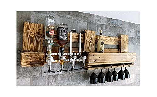 RUSTIKALE WANDBAR mit GETRÄNKESPENDER für Cocktails, Longdrinks, Vintage Wandregal groß aus Europaletten für 4 Flaschen