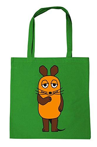 Logoshirt Die Maus - Die Sendung mit der Maus Baumwolltasche - Stofftasche mit Druck und langen Tragegriffen - grün