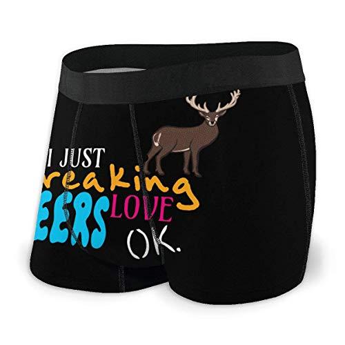 Web--ster I Just Freaking Love Deers Calzoncillos sexys de Secado rápido para Hombres Ropa Interior Suave y cómoda Talla XL