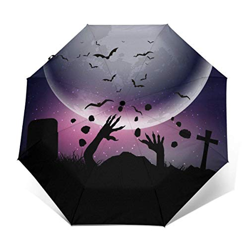 New ALNANI Halloween Background with Zombie Hands Against Travel Sun&Rain Windproof Umbrella, Lightw...