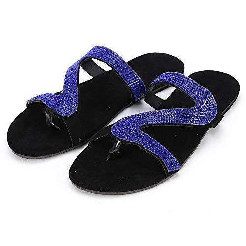 2021 Sandalias Informales con Plataforma cómoda para Mujer, Chanclas de Verano para Viajes en la Playa, Sandalias Planas con Diamantes 10 Azul