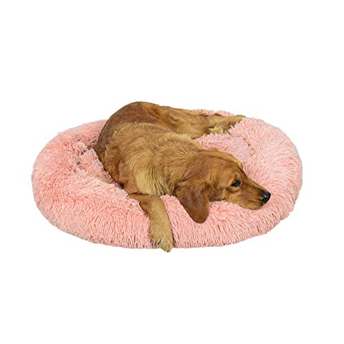 Hundebett Plüsch Rund Katzenbett Hundekissen Katzenkissen Donut Hundekörbchen(Leder Pink,Ø 80CM)